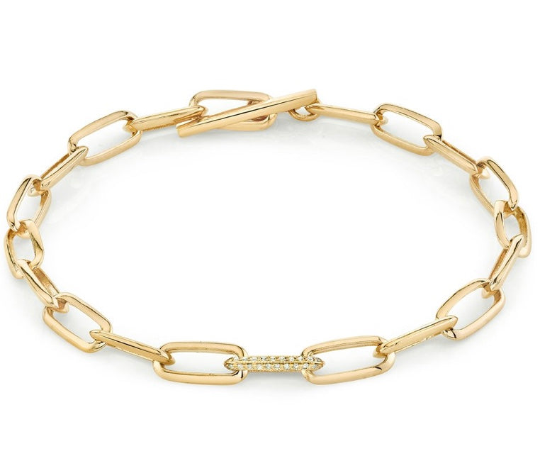 Knife Edge Oval Link Chain Bracelet Single Pavé Link