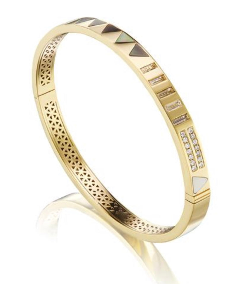 Triangle Stone Inlay Bangle