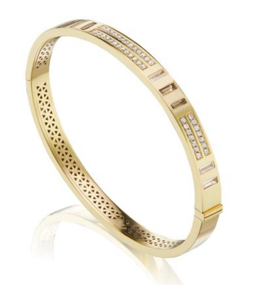 Baguette and Pavé Diamond Bangle
