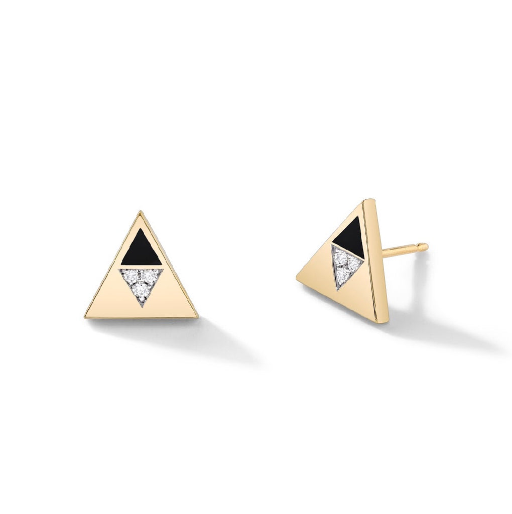 Enamel Diamond Triangle Studs