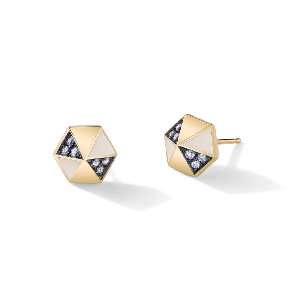 Enamel Diamond Pyramid Stud