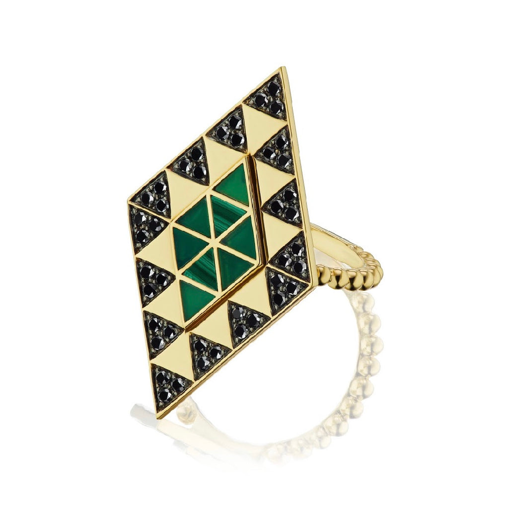 Amina Inlay Shield Ring
