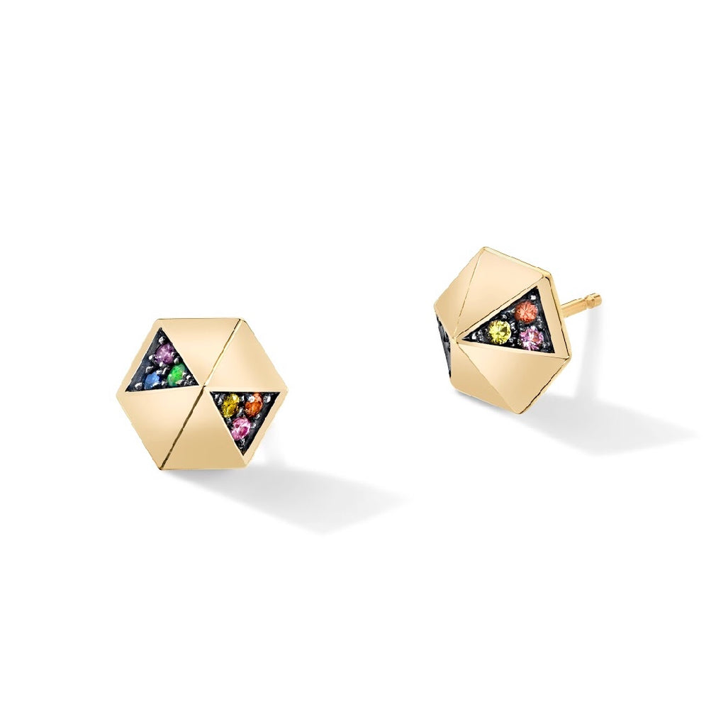 Rainbow Hexagon Dome Studs