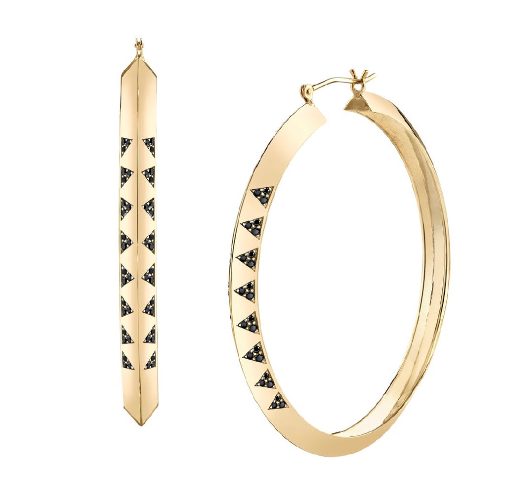 Knife Edge Pavé Hoop Earrings