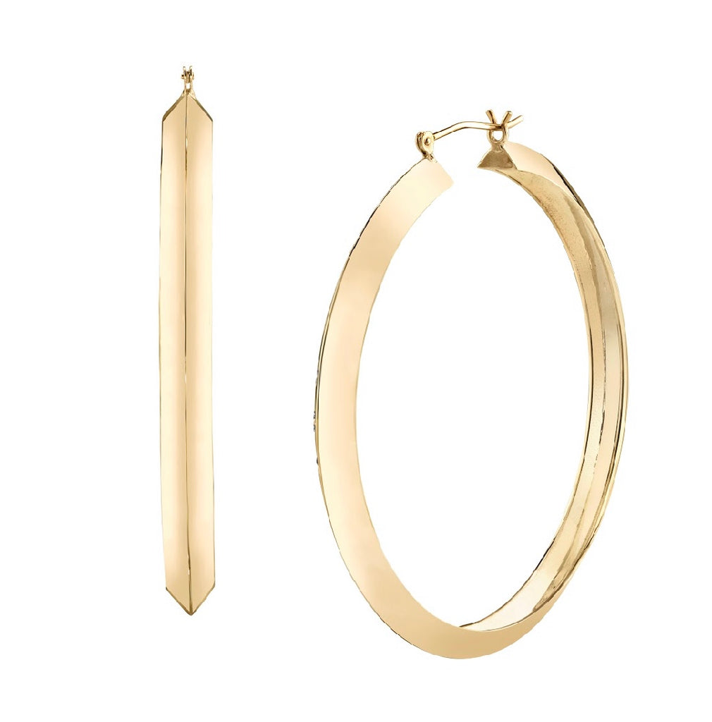 Knife Edge Solid Hoop Earrings