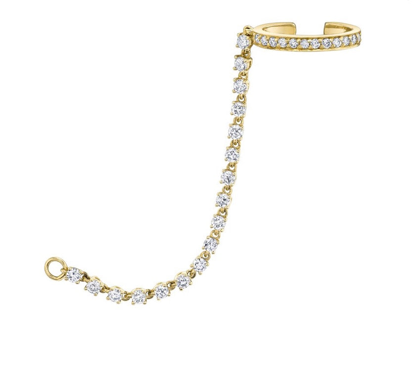 Single-Row Diamond Ear Cuff w/ Rope Diamond Chain