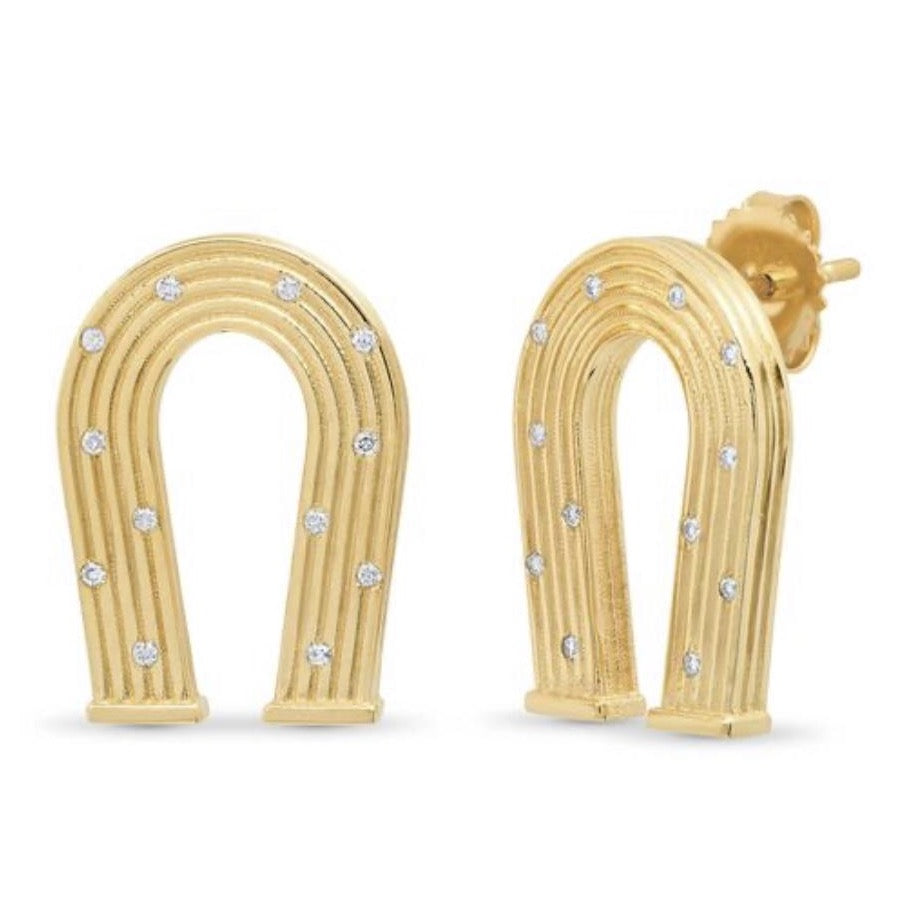 Reeded Gold and Diamond Manifest Earrings