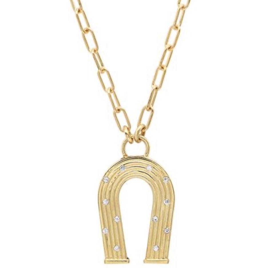 Mini Reeded Gold and Diamonds Manifest Necklace