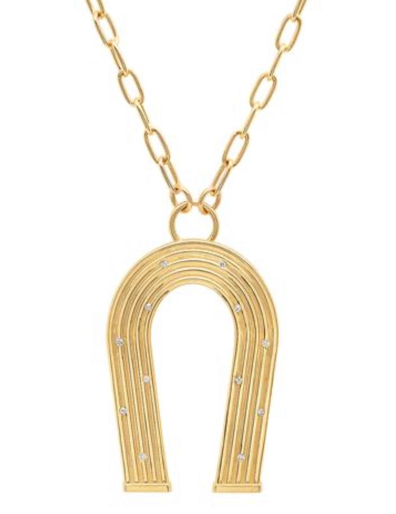 Reeded Gold and Diamonds Manifest Necklace