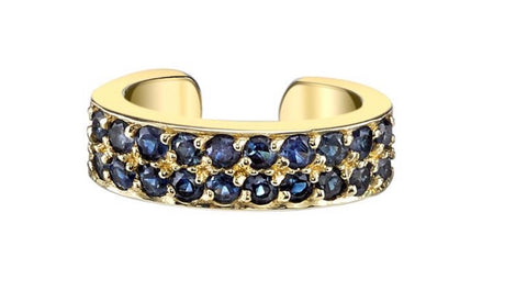 Double Row Sapphire Ear Cuff in Gold