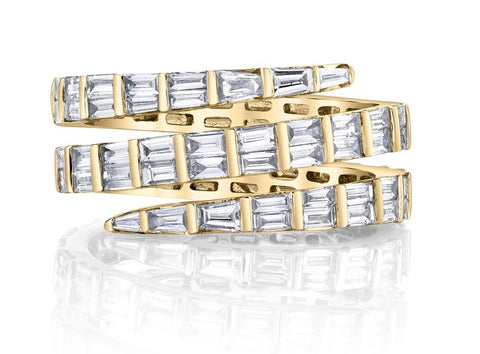 Three Row Baguette Diamond Coil Ring in Yellow Gold