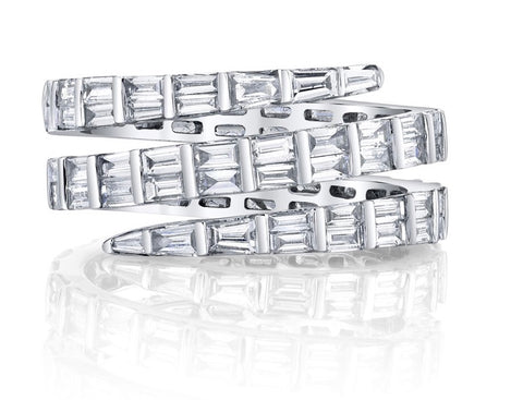 Three Row Baguette Diamond Coil Ring in White Gold