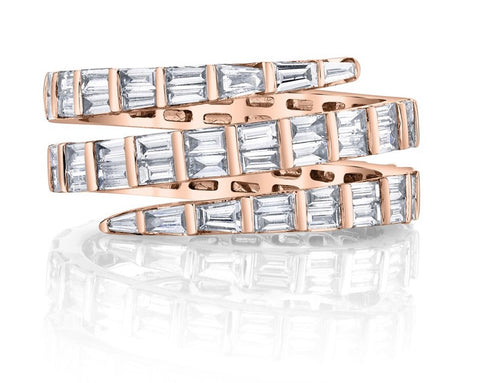 Three Row Baguette Diamond Coil Ring in Rose Gold