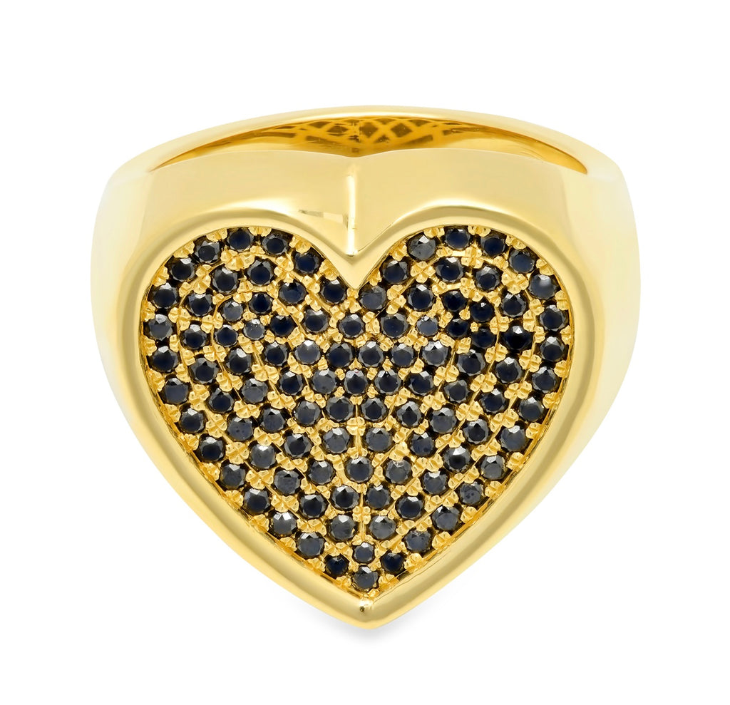 Black Diamond Heart Surface Ring