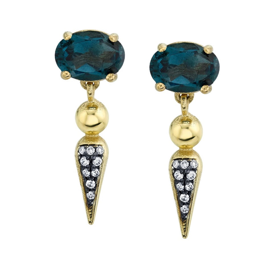 Pavé Spear Tip Dangle Studs