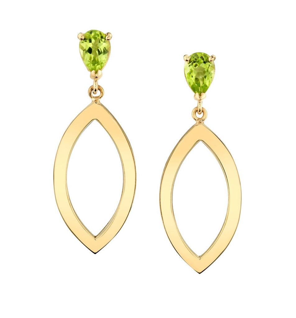 Pear Studs with Open Gold Marquis
