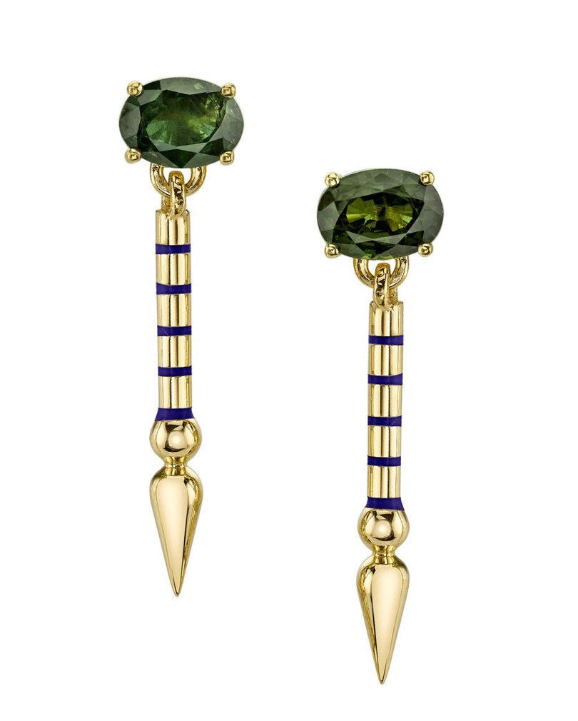 Mini Single Gemstone Shirley Spear Earrings