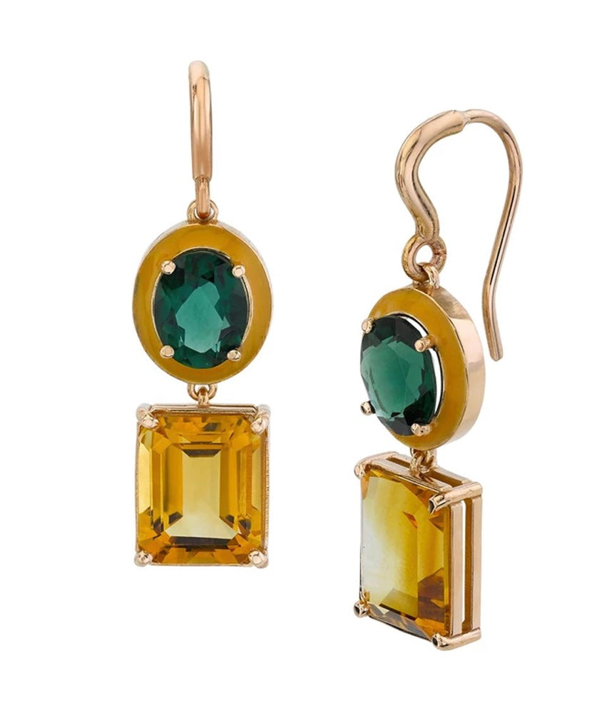 Small Gaga Enamel Gemstone Earrings