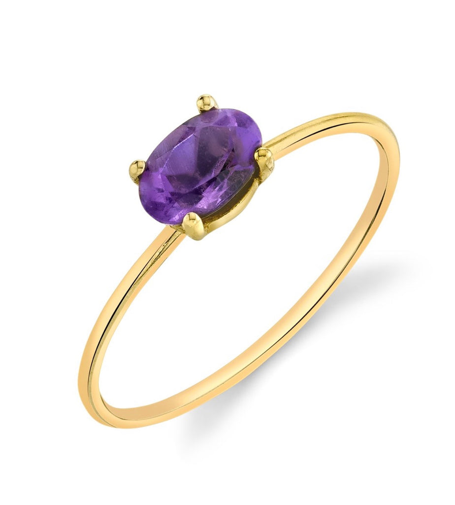 Mini Oval Stacking Ring - Purple Amethyst