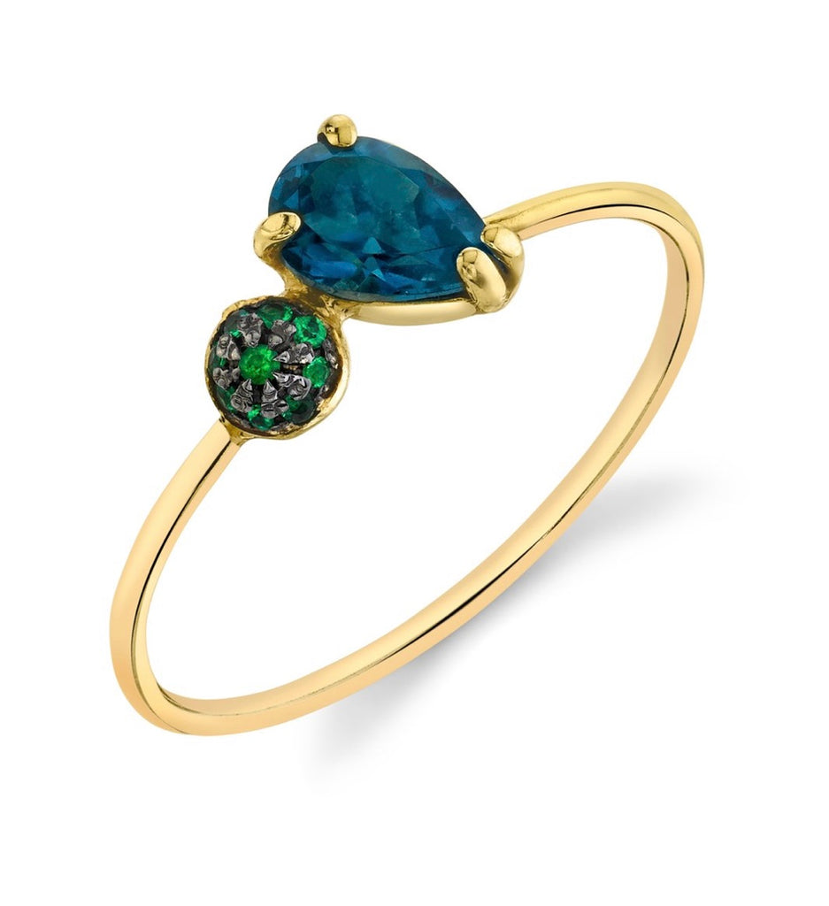 Mini Pear and Pavé Ball Stacking Ring - London Blue Topaz + Emerald