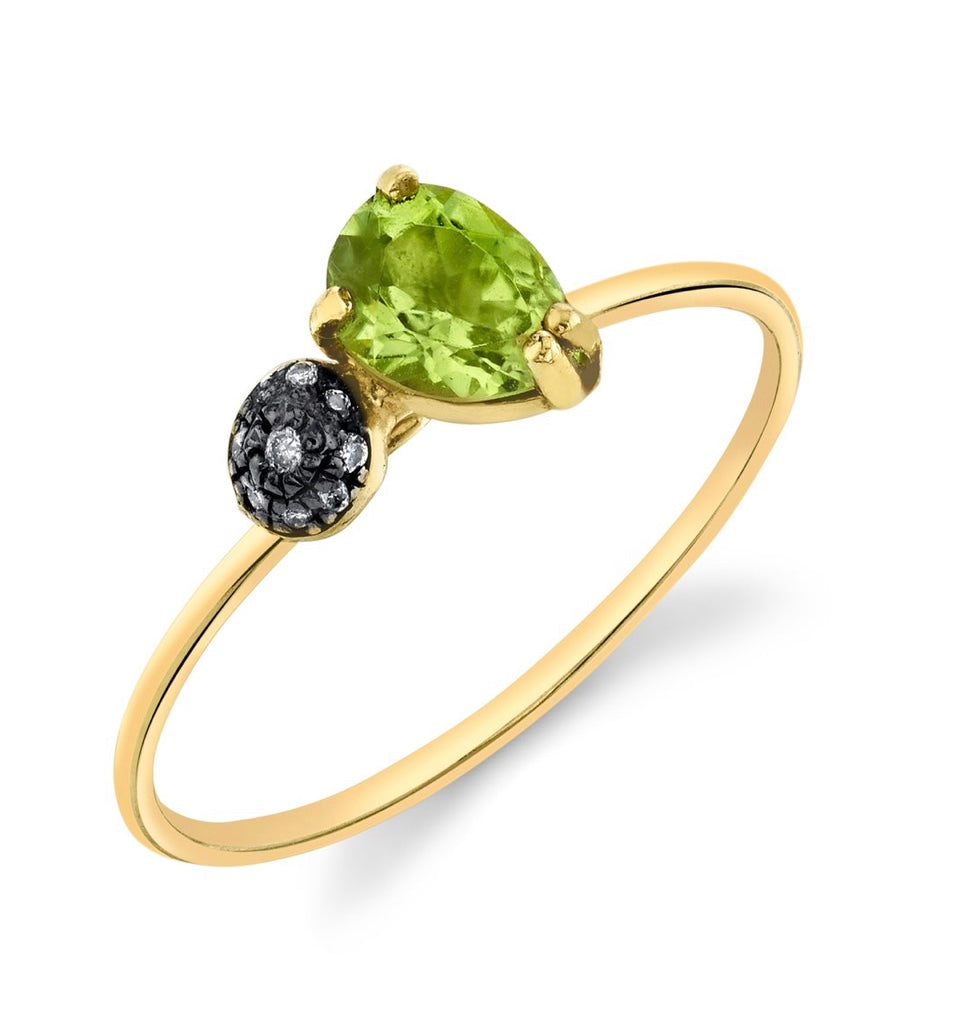 Mini Pear and Pavé Ball Stacking Ring - Peridot