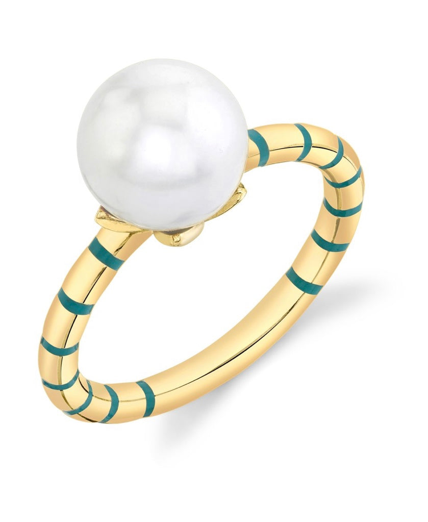 Mini Stripe Enamel Ring - Freshwater Pearl