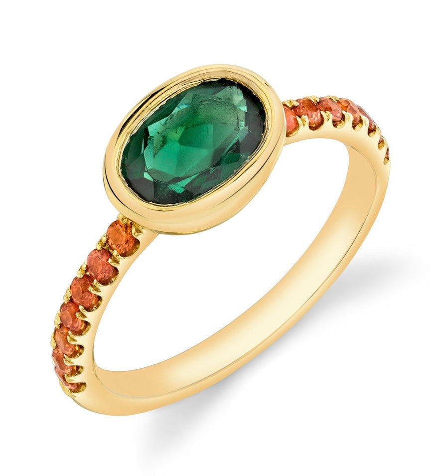 Pavé Shirley Bezel Set Oval Cut Ring
