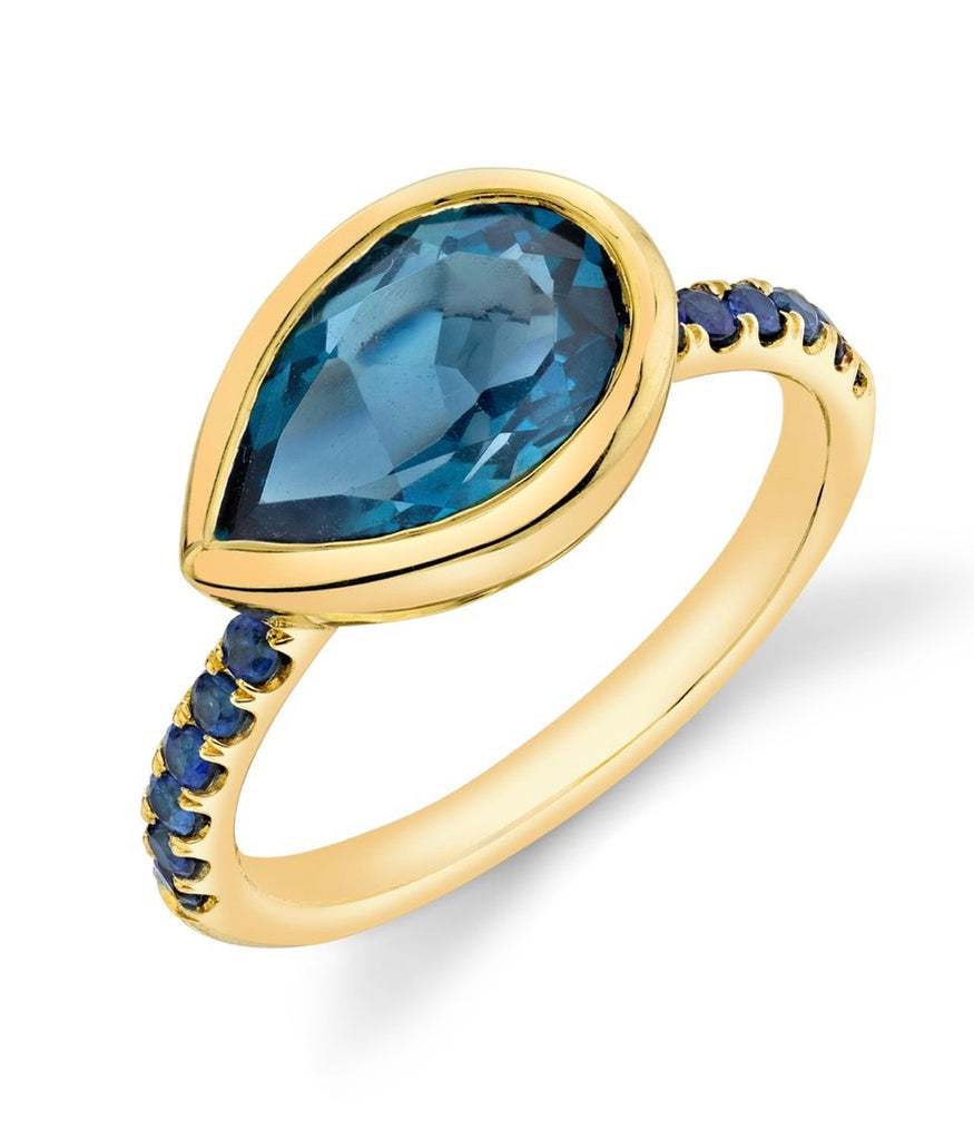 Pavé Shirley Bezel Set Pear Cut Ring
