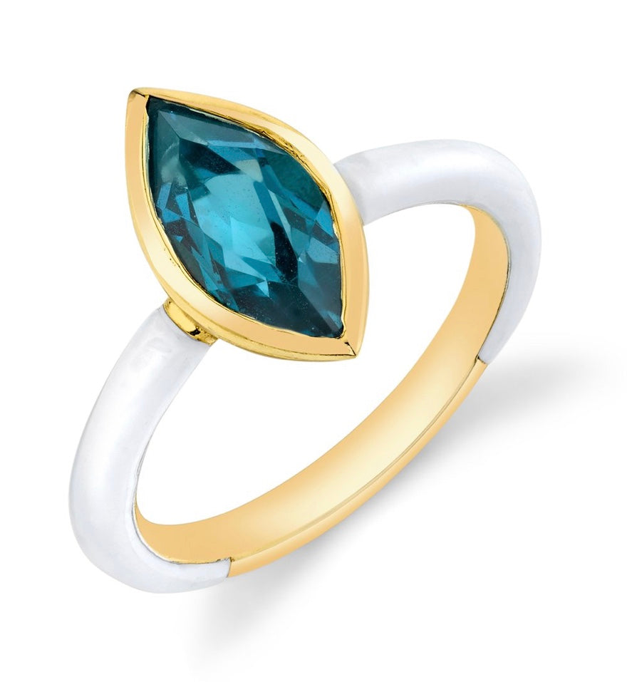 Marquis Cut Gemstone Enamel Ring