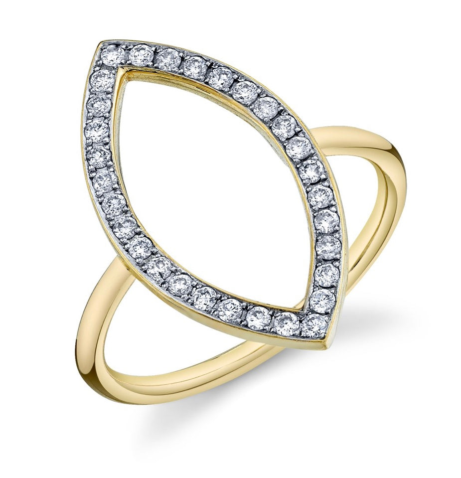 Pavé Diamond Open Marquis Ring