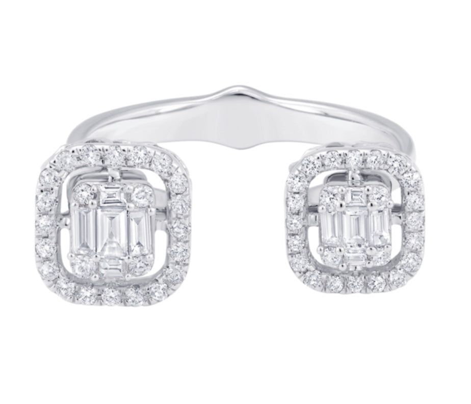 Illusion Emerald Cut Cluster Double Ring