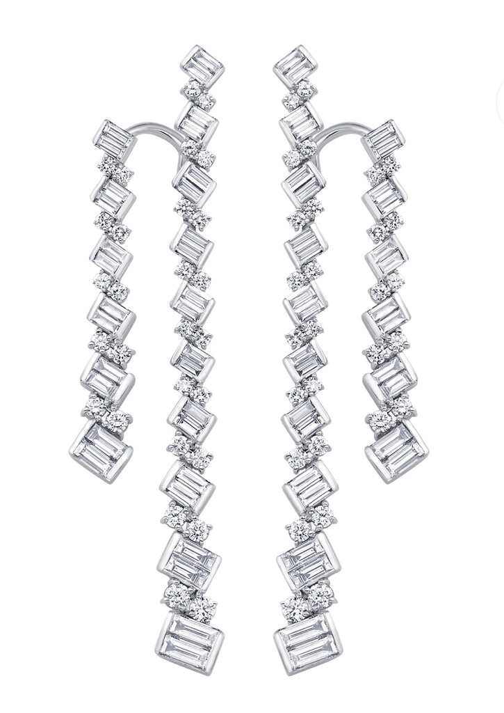 Taj Baguette Braided Double Diamond Drop Earrings