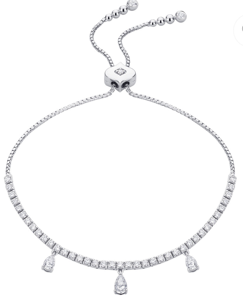 Purity 3 Pear Diamond Bolo Bracelet