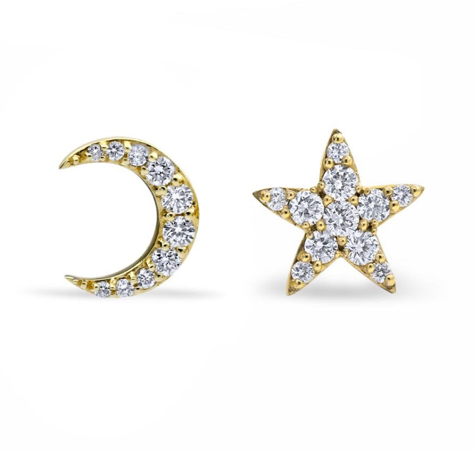 La Luna & Stella Mismatched Stud Earrings