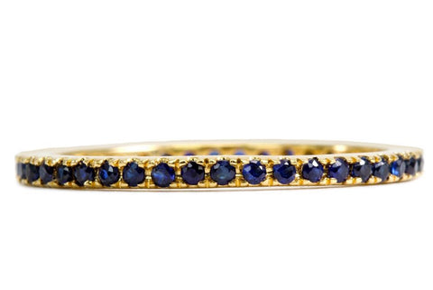 Blue Sapphire Stack Thread Band Ring