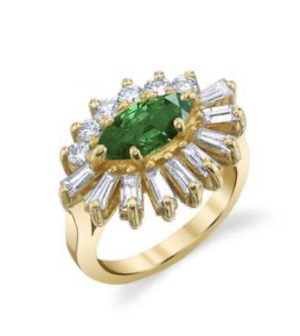 Emerald and Diamond Evil Eye Ring