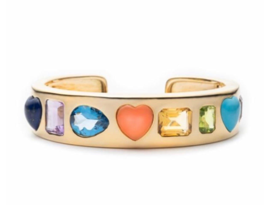 Multi-Color Gemstone Gypsy Cuff