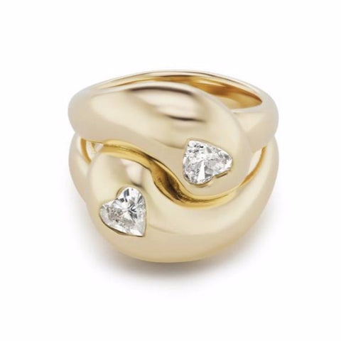 Knot Ring with Two Heart Diamonds