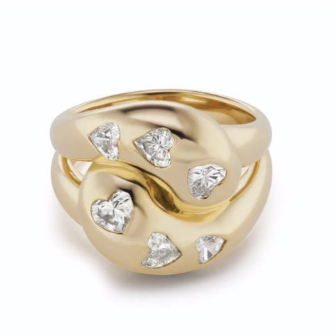 Knot Ring with Six Heart Diamonds