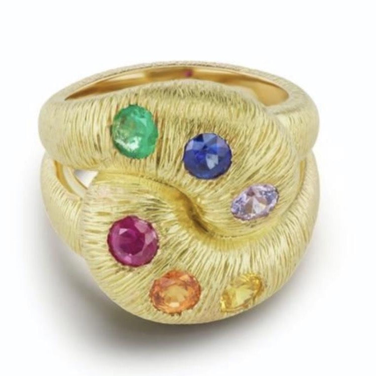 Textured Knot Ring with Multi Color Sapphires