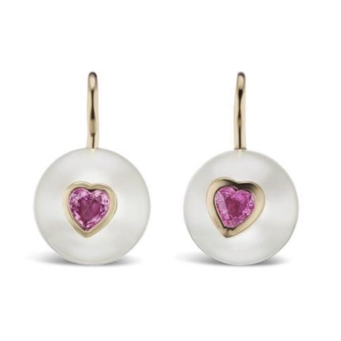 Pearl on Wire Earrings with Pink Sapphire Hearts