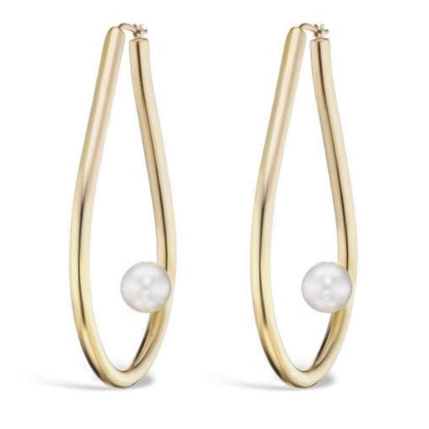 Gold Hoops with Pearls