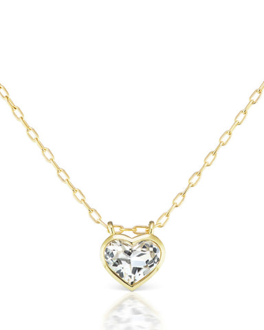 Large White Topaz Bezel Heart Necklace
