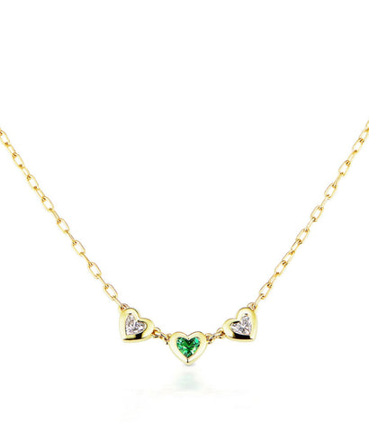 Three Heart Tsavorite and Diamond Necklace