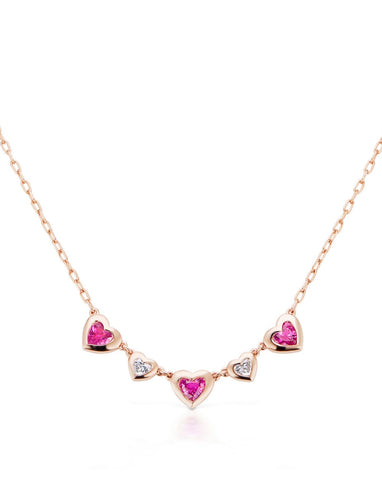 Three Heart Pink Sapphire and Diamond Necklace