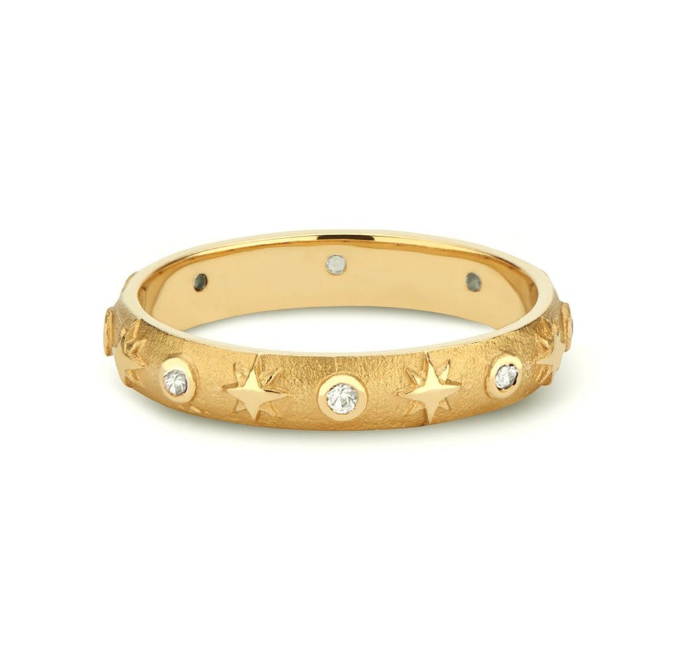 Baby Domed Star Band with Gemstones