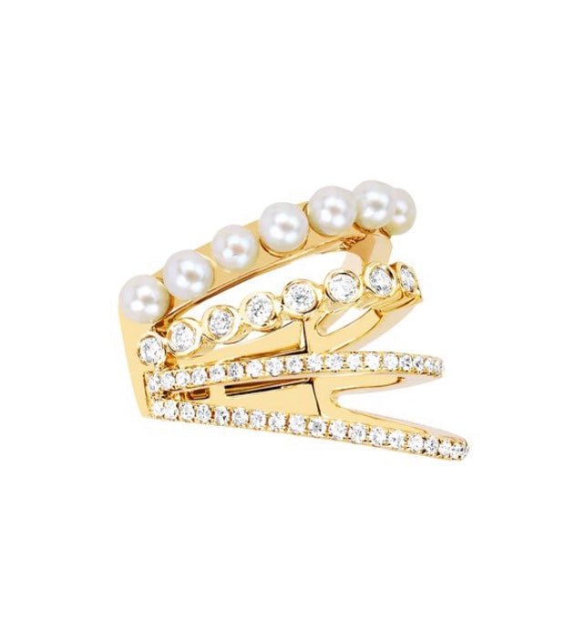Diamond Bezel Pearl Cage Ear Cuff (No Piercing)