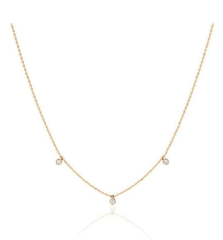 3 Diamond Bezel Faceted Chain Necklace