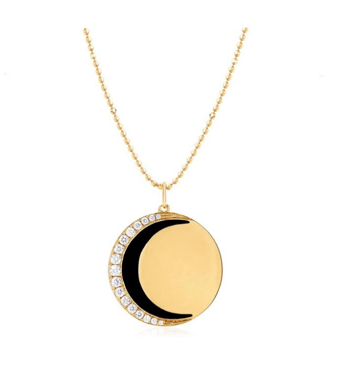 Diamond & Black Enamel Crescent Moon Necklace