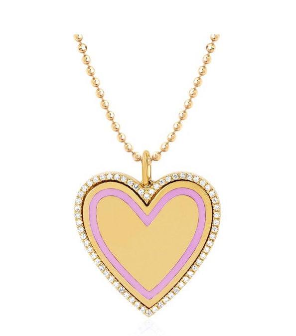 Diamond & Light Pink Enamel Heart Necklace